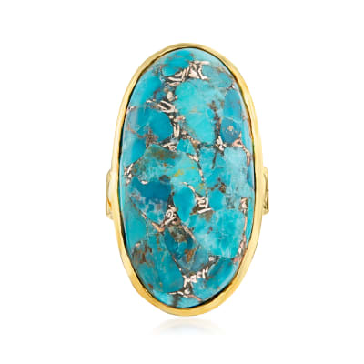 Mosaic Turquoise Ring in 18kt Gold Over Sterling