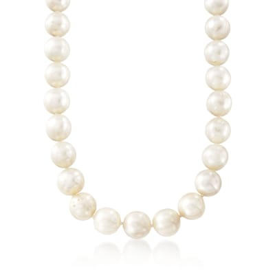 10.5-11.5mm Cultured Pearl Necklace with Sterling Silver