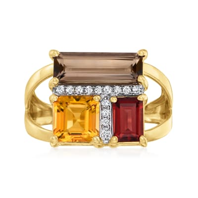 2.90 ct. t.w. Multi-Gemstone Geometric Ring with Diamond Accents in 14kt Yellow Gold
