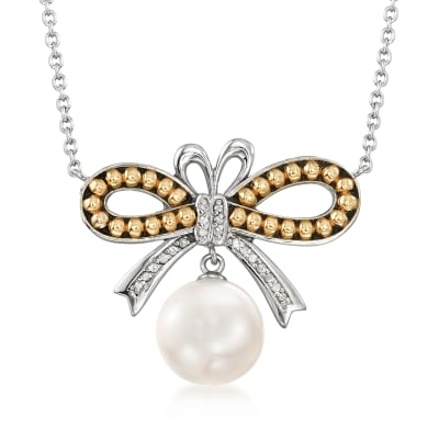 10.5-11mm Cultured Pearl and .62 ct. t.w. Diamond Bow Necklace in Sterling Silver and 14kt Yellow Gold