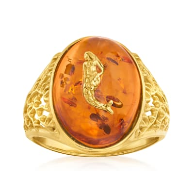 Amber Mermaid Ring in 18kt Gold Over Sterling
