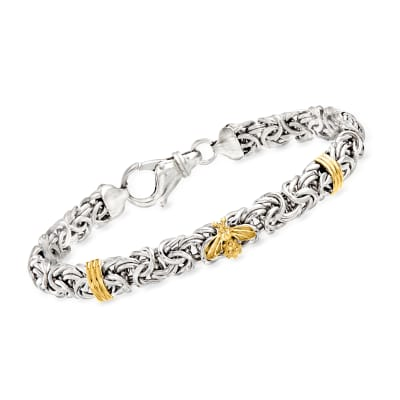 Sterling Silver Byzantine Bracelet with 14kt Yellow Gold Bee and Bar Stations