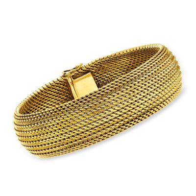 C. 1980 Vintage 14kt Yellow Gold Mesh Bracelet
