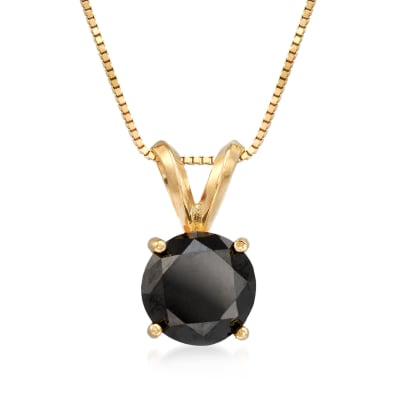 2.00 Carat Black Diamond Solitaire Necklace in 14kt Yellow Gold