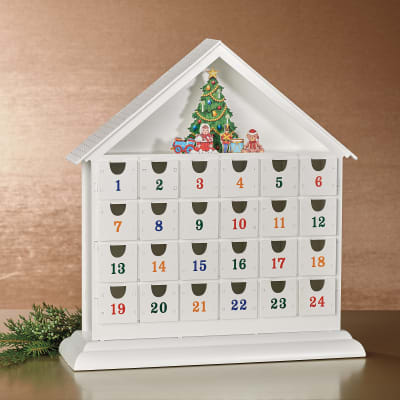 Reed & Barton White Wooden Advent Calendar