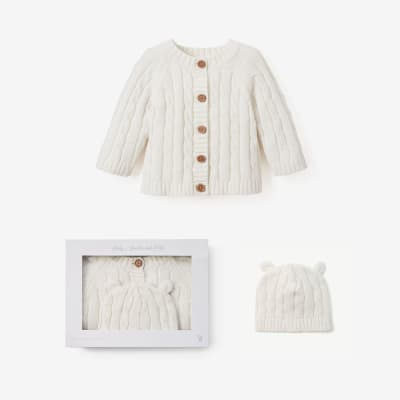 Elegant Baby White Cotton Cable Knit Sweater and Hat Set