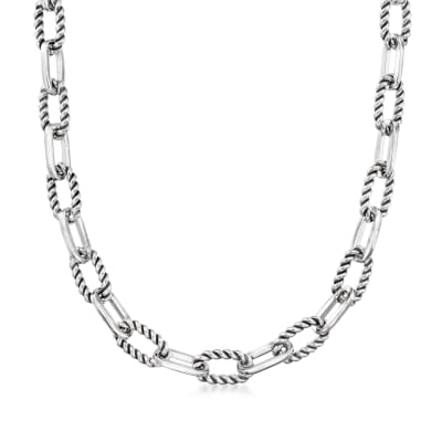 "Phillip Gavriel ""Italian Cable"" Sterling Silver Paper Clip Link Necklace"