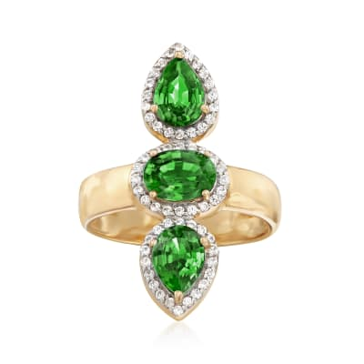 2.40 ct. t.w. Green Diopside and .30 ct. t.w. White Zircon Frame Ring in 18kt Gold Over Sterling