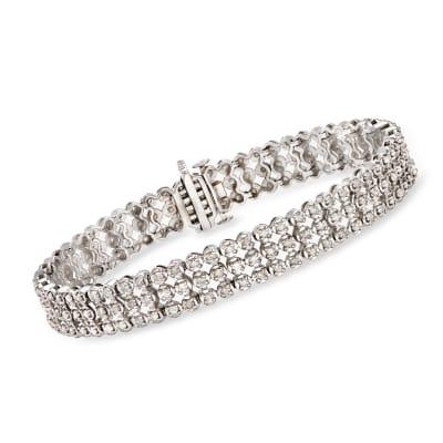 3.00 ct. t.w. Diamond Three-Row Bracelet in Sterling Silver