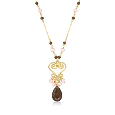 3-4mm Pink Cultured Pearl and 7.40 ct. t.w. Smoky Quartz Pendant Necklace in 18kt Gold Over Sterling