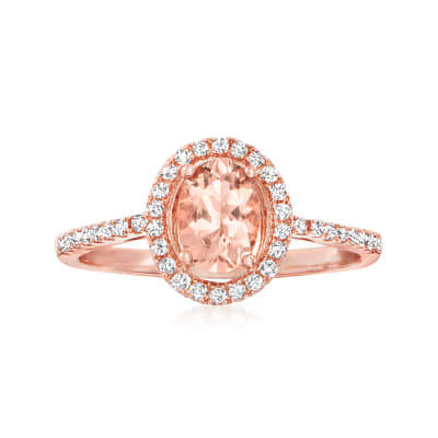.60 Carat Morganite Ring with .20 ct. t.w. Diamonds in 14kt Rose Gold