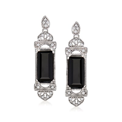 Black Onyx Drop Earrings with Diamond Accents in Sterling Silver