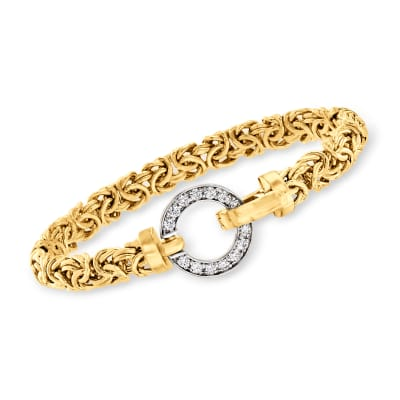 .40 ct. t.w. CZ Open-Circle Byzantine Bracelet in 18kt Gold Over Sterling
