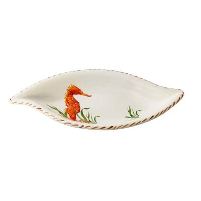 "Abbiamo Tutto ""Seahorse"" Ceramic Leaf Bowl from Italy"