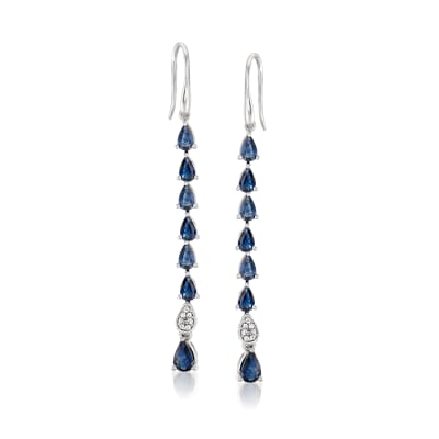3.00 ct. t.w. Sapphire Linear Drop Earrings with Diamond Accents in Sterling Silver