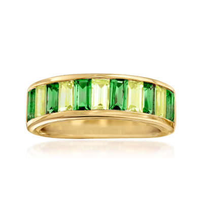 1.20 ct. t.w. Green Chrome Diopside and .90 ct. t.w. Peridot Ring in 18kt Gold Over Sterling