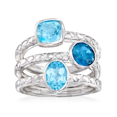 4.00 ct. t.w. Blue Topaz Jewelry Set: Three Rings in Sterling Silver