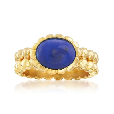 Italian 10x8mm Lapis Double-Row Beaded Ring in 18kt Gold Over Sterling