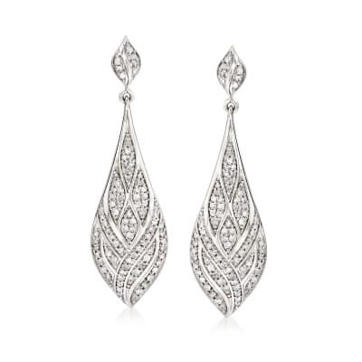1.00 ct. t.w. Diamond Geometric Teardrop Earrings in Sterling Silver