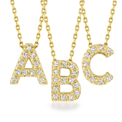 Diamond-Accented Initial Necklace in 14kt Yellow Gold