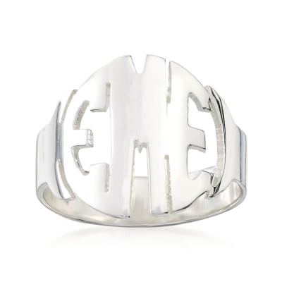 Sterling Silver Circular Block Monogram Ring