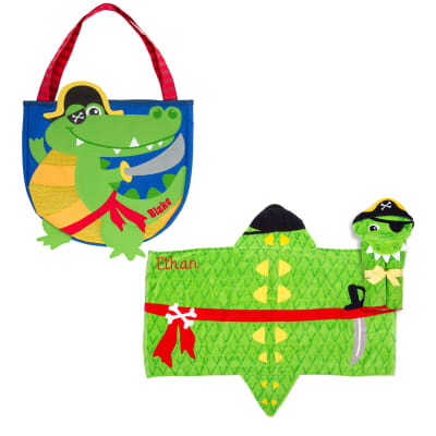 Pirate Alligator-Themed Personalized Hooded Towel and 5-pc. Beach Tote Set