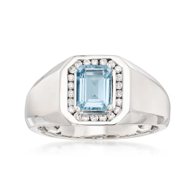 Men's 1.10 Carat Aquamarine and .22 ct. t.w. Diamond Ring in 14kt White Gold