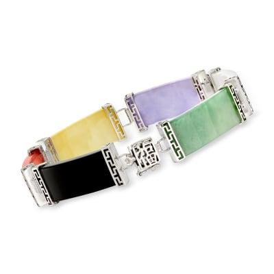 "Multicolored Jade ""Bless"" Bracelet in Sterling Silver"