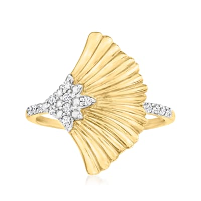 .14 ct. t.w. Diamond Ginko Leaf Ring in 18kt Gold Over Sterling
