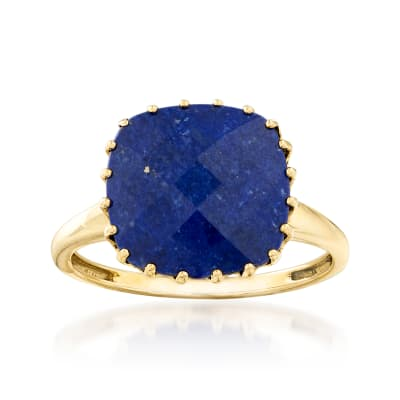 Square Lapis Ring in 14kt Yellow Gold