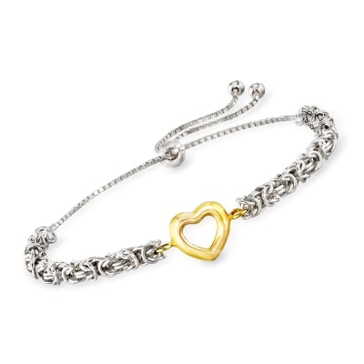 Open-Space Heart Byzantine Bolo Bracelet in Sterling Silver and 14kt Yellow Gold