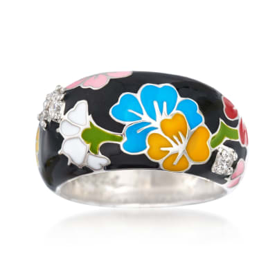 "Belle Etoile ""Constellations: Sakura"" Multicolored Enamel and .15 ct. t.w. CZ Ring in Sterling Silver"