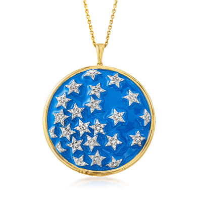 .50 ct. t.w. Diamond and Blue Enamel Star Pendant Necklace in 18kt Gold Over Sterling