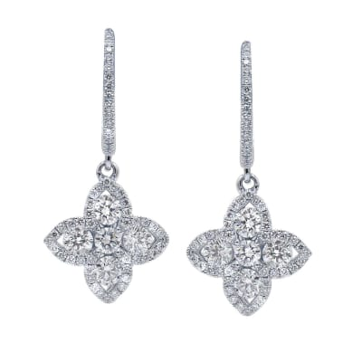 1.06 ct. t.w. Diamond Flower Hoop Drop Earrings in 18kt White Gold
