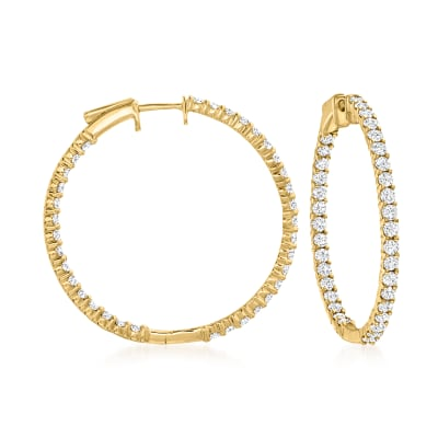 3.00 ct. t.w. Diamond Inside-Outside Hoop Earrings in 14kt Yellow Gold