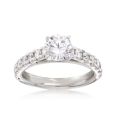 .63 ct. t.w. Diamond Engagement Ring Setting in 14kt White Gold