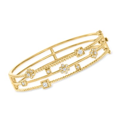.50 ct. t.w. Diamond Floral Three-Row Open-Space Bangle Bracelet in 18kt Gold Over Sterling