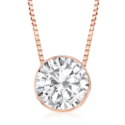 1.00 Carat Diamond Solitaire Necklace in 14kt Rose Gold