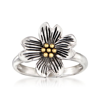 Sterling Silver with 14kt Yellow Gold Flower Ring