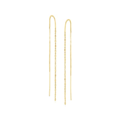 14kt Yellow Gold Dot-And-Dash Chain Threader Earrings