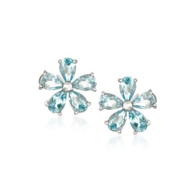 2.30 ct. t.w. Blue Topaz Flower Earrings in Sterling Silver