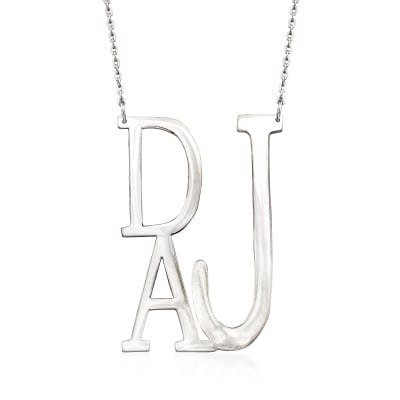 Sterling Silver Block-Style Monogram Necklace