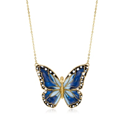 Italian Multicolored Enamel Butterfly Necklace in 14kt Yellow Gold