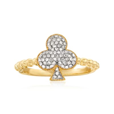 .20 ct. t.w. Diamond Clover Ring in Sterling and 18kt Gold Over Sterling