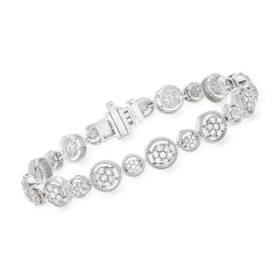 2.00 ct. t.w. Diamond Milgrain-Frame Bracelet in Sterling Silver