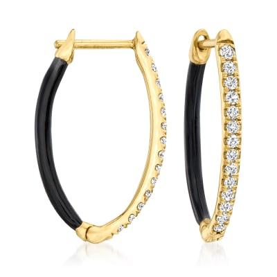 .25 ct. t.w. Diamond and Black Enamel Hoop Earrings in 18kt Gold Over Sterling