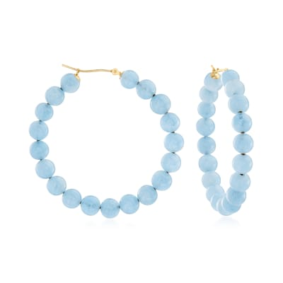 55.00 ct. t.w. Milky Aquamarine Beaded Hoop Earrings in 14kt Yellow Gold