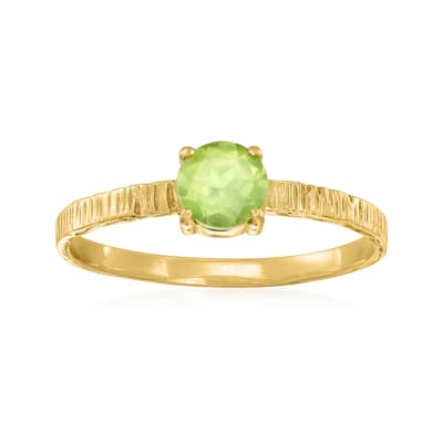 C. 1970 Vintage .50 Carat Peridot Ring in 14kt Yellow Gold