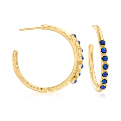 Lapis Hoop Earrings in 18kt Gold Over Sterling