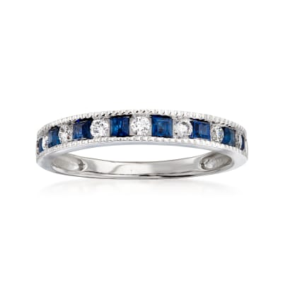 .50 ct. t.w. Sapphire and .22 ct. t.w. Diamond Ring in 14kt White Gold